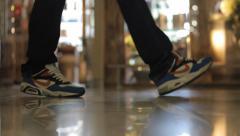 Footsteps people Stock Footage