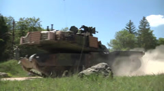 Soldiers OPFOR Position Attacked by US Armor tank Stock Footage