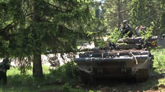 Soldiers OPFOR Position Attacked by US Armor tank - stock footage
