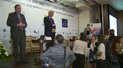 Sweden's Foreign Minister Carl Bildt speaks at a conference in Kiev. Stock Footage