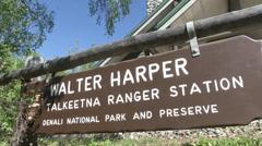 Sign outside Walter Harper ranger station Stock Footage