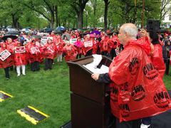 Unions protest TPP - stock photo