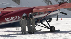 Soldiers arrive at Mount McKinley Base Camp Stock Footage