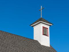 Old White Rural Church Steeple and Belfry Stock Photos