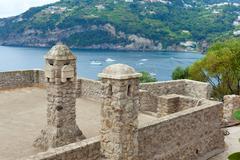 Interior details of the Aragonese castle, Ischia Island Stock Photos