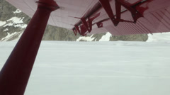 Aerial view of take off  at Mount McKinley Base Camp Stock Footage