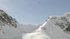 Aircraft flies over Mount McKinley Base Camp Stock Footage