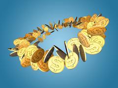 Golden Dollar Spin Stock Illustration