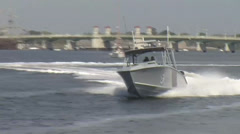 Customs and Border Protection  Air and Marine Open Ocean Chase of Suspect Vessel - stock footage