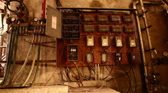 Old Power board in sub station Stock Footage