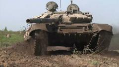 T-90 tank at a military training ground near St. Petersburg. Military exercises. - stock footage