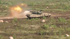 Stock Video Footage of T-90 tank fires