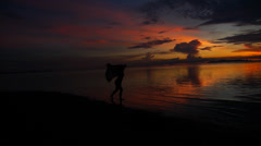 Silhouette of a Girl Running down the Beach at Epic Sunset. Slow Motion. - stock footage