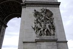 Art Detail of Arc Triomphe in Paris, France Stock Photos