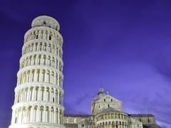 Night Detail of Piazza dei Miracoli in Pisa - stock photo