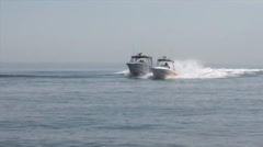 Customs and Border Protection  Air and Marine Open Ocean Chase of Suspect Vessel Stock Footage