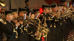 Now French military band late at night in Red Square Stock Footage