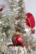 Christmas motifs with balls and chains - stock photo