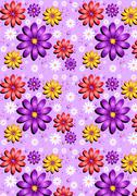 Gentle purple seamless background with flowers - stock illustration