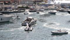 Monaco Yacht Show Speed Boats Stock Footage