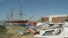 Boat yard, Historic HMS Warrior background Stock Footage