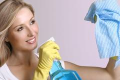 Spic n Span - female cleaning up - stock photo