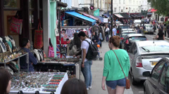 People shopping on Portobello Road Stock Footage