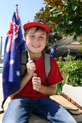 Boy with Australian Flag - stock photo