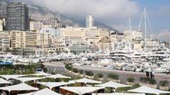 Port Hercule - Monaco Harbor Stock Footage