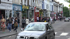 Shops on Pembridge Road, near Notting Hill Gate Stock Footage