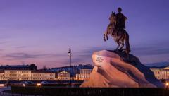 Timelapse, Monument Bronze horseman, Statue Peter the Great, Saint-Petersburg Stock Footage