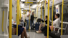 Inside Central Line Car, London Underground Stock Footage