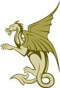 green dragon full body cartoon - stock illustration