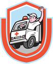 Stock Illustration of ambulance emergency vehicle driver waving shield cartoon