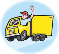 Delivery truck driver waving cartoon. Piirros