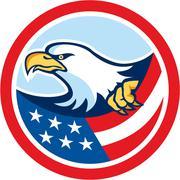 American bald eagle clutching flag circle retro Stock Illustration