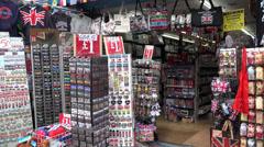 Touristic gift shop on Portobello Road Stock Footage