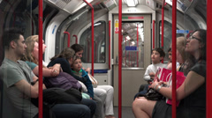 Inside a Central Line train car approaching station Stock Footage