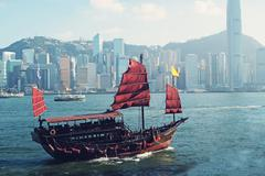 Junk boat in Hong Kong Stock Photos