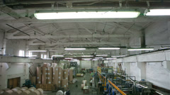 Interior view of a spacious newspaper factory Stock Footage
