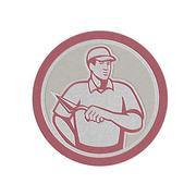 Metallic tiler plasterer mason masonry worker circle Stock Illustration