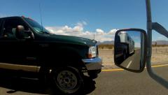Stock Video Footage of POV Freeway Driver Passed By Pick Up Truck With Livestock Trailer