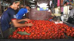 Tomato seller market medina souk Marrakech, Morocco Stock Footage