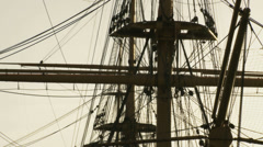 Historic HMS Warrior -close up mast. zoom Stock Footage