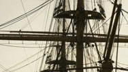 Stock Video Footage of Historic HMS Warrior -close up mast. zoom