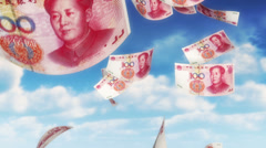 Stock Video Footage of Money from Heaven - CNY - RMB (Loop)