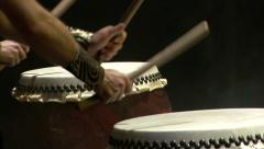 Close up of hands beating a japanese drums - stock footage