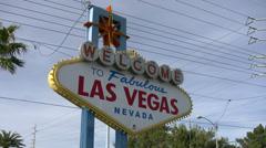 Las Vegas Sign Tilt Down to Las Vegas Strip Stock Footage
