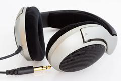 stereo headphones with large shells of high-quality - stock photo