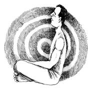 Meditating man - stock illustration